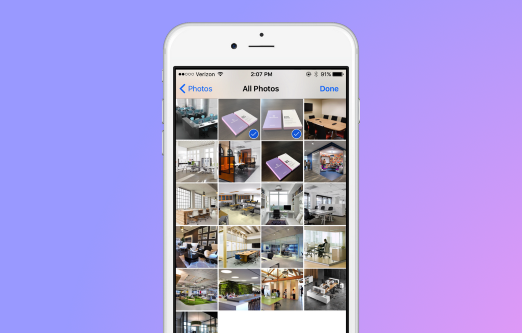 Image of Structural application with multiple photos selected from camera roll