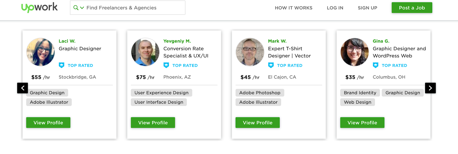 Upwork freelancer profiles